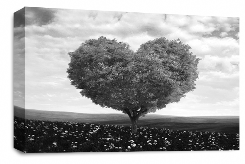Love Heart Wall Art Picture Floral Tree Black White Grey Print